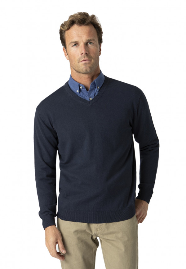 Watton Navy Luxury Cotton Merino V-Neck Sweater