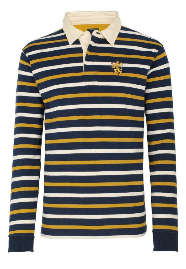 Navy, Mustard And White Stripe  Rugby Shirt