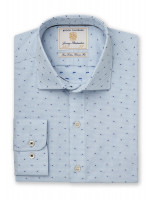 Tailored Fit Mint Micro Check with Navy And Blue Square Cuff Shirt