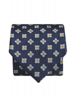 Navy With Gold Flower 100% Silk Tie