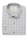 """35"""" Sleeve Navy, Blue And Beige Check Single Cuff Shirt"""