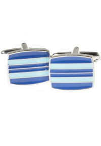 Blue and Turquoise Stripe Chrome Cufflinks