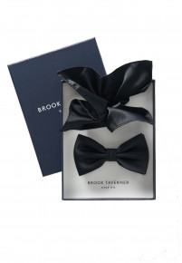 Black Plain Satin Bow Tie & Hanky Set