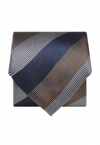 Blue Gold and White Stripe Silk Tie