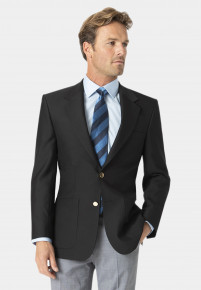 Black Henley Classic Wool Blend Patch Pocket Blazer
