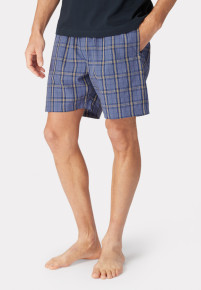 Holmfirth Blue Grid Check Cotton Lounge Shorts