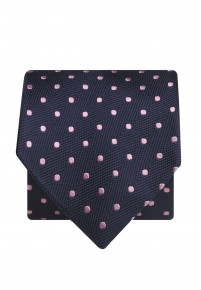 Navy With Pink Spot 100% Silk Tie