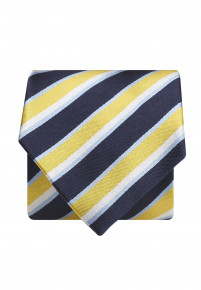Navy And Yellow Stripe 100% Silk Tie
