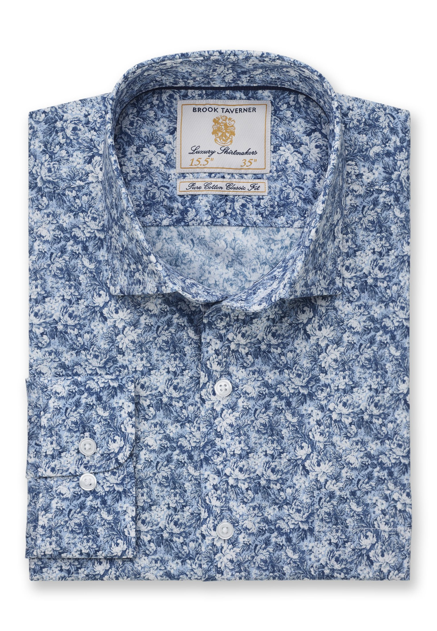 Classic and Tailored Fit Wedgewood Blue Floral Print Shirt