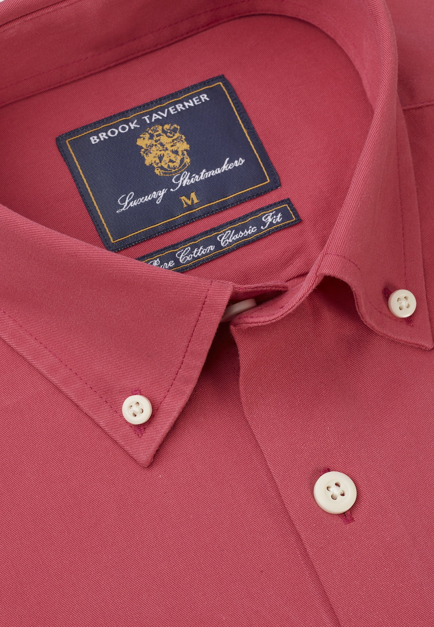 Classic and Tailored Fit Strawberry Garment Washed Twill Shirt