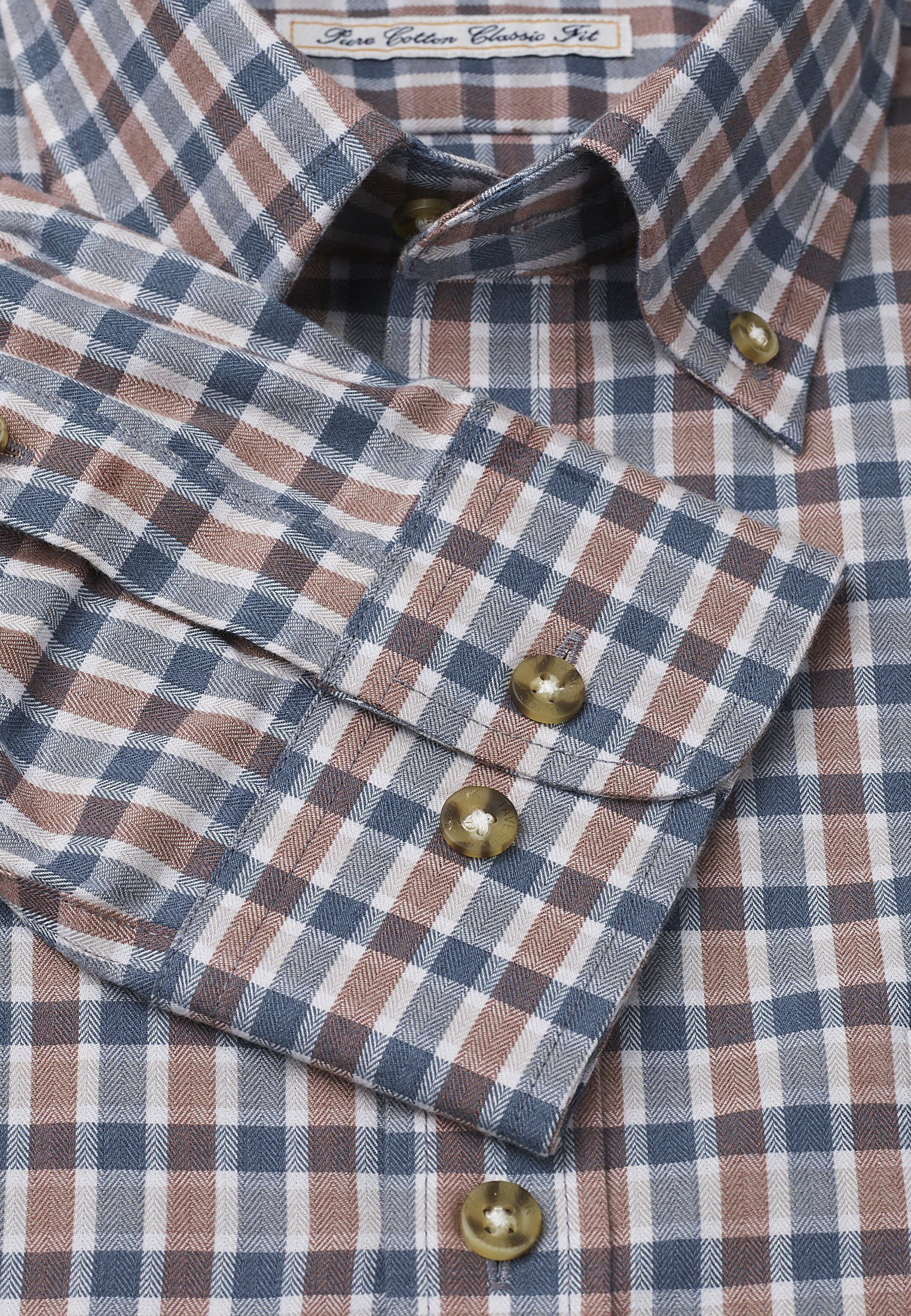 """35"""" Sleeve Mocca And Charcoal Check Single Cuff Shirt"""