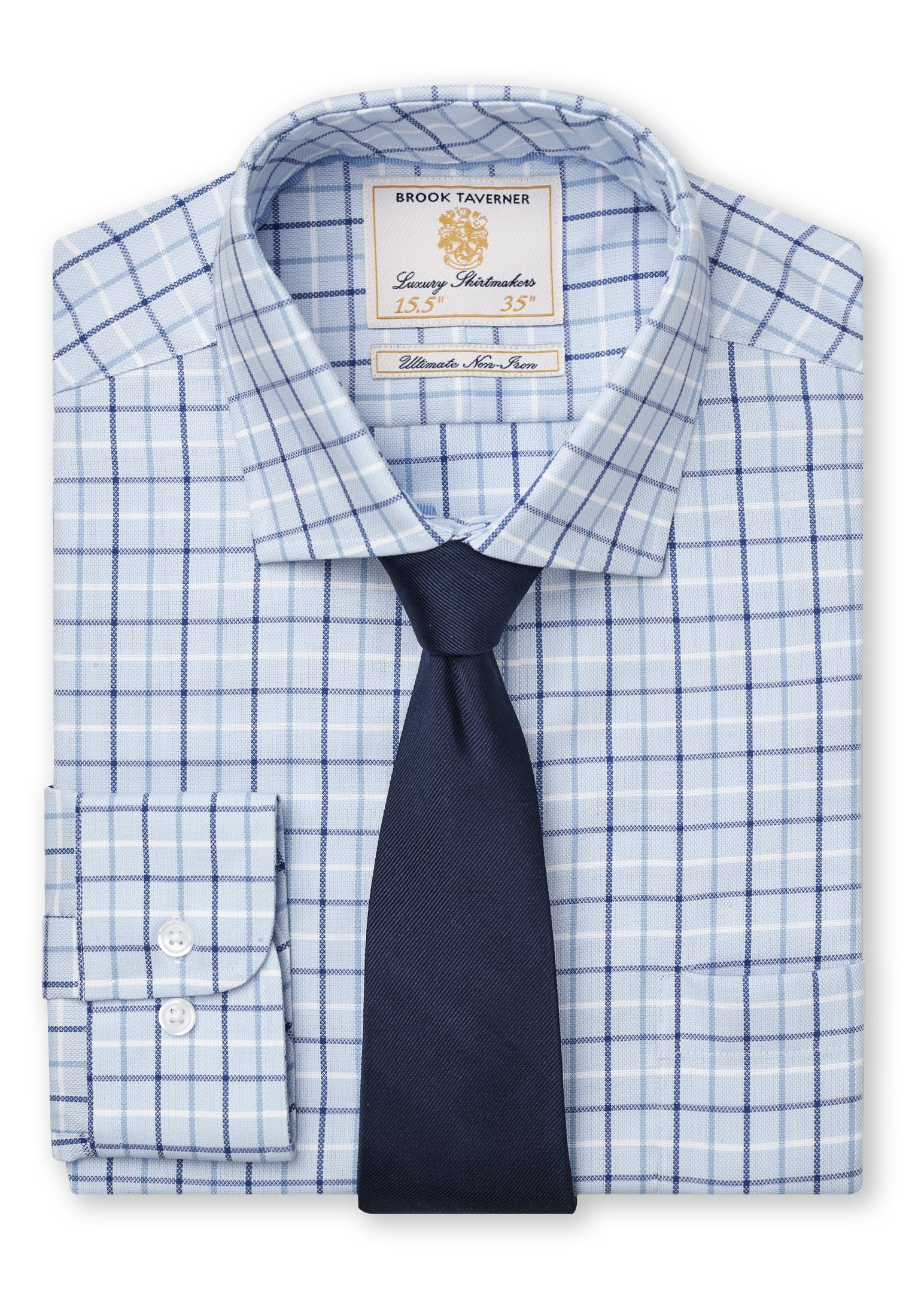 """36.5"""" Sleeve Navy, Blue And White Check Shirt"""