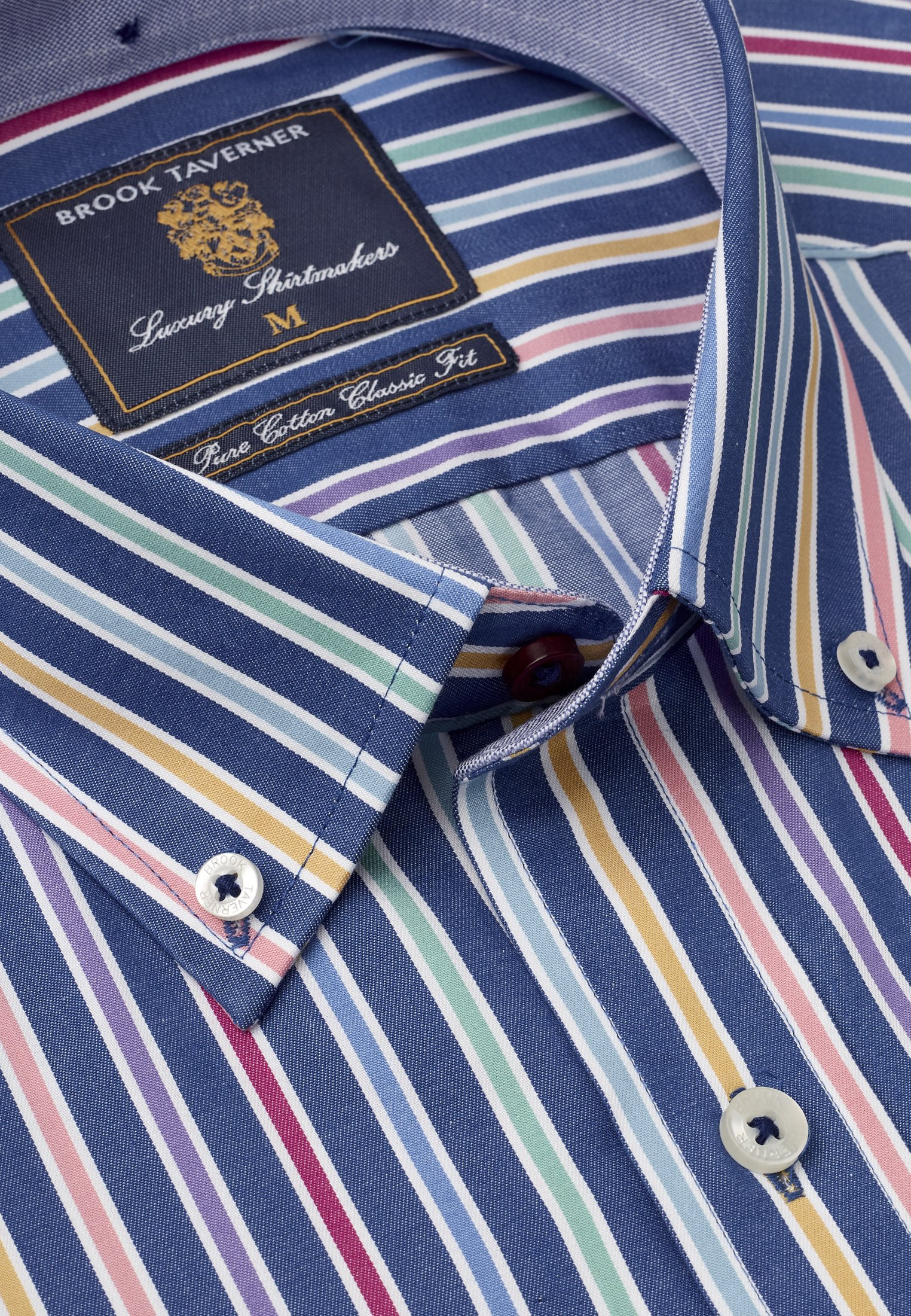 Short Sleeve Classic Fit Blue with Orange Blue and Red Stripe Shirt