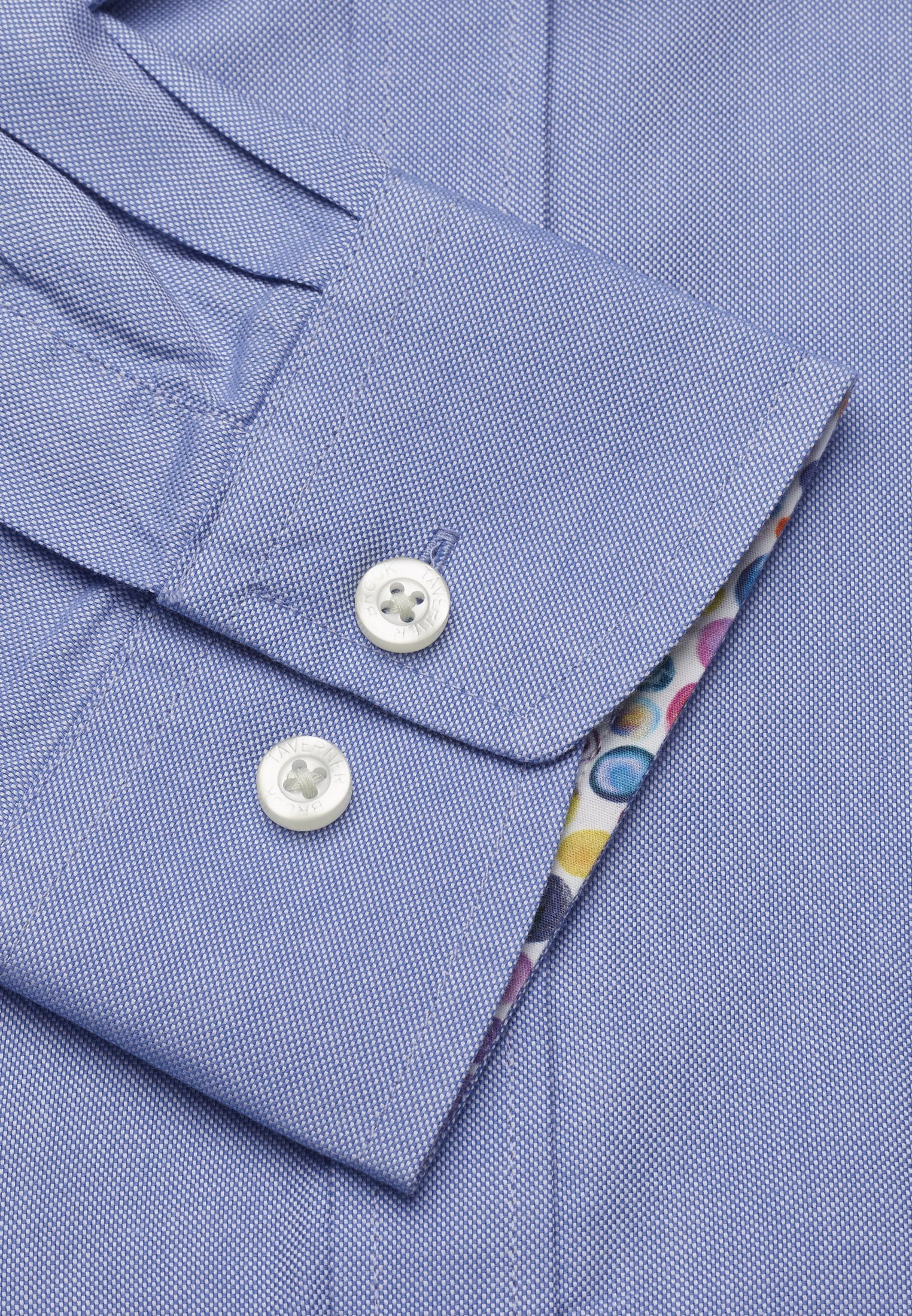 Long and Short Sleeve Classic and Tailored Fit Blue Oxford with Coloured Trim Shirt