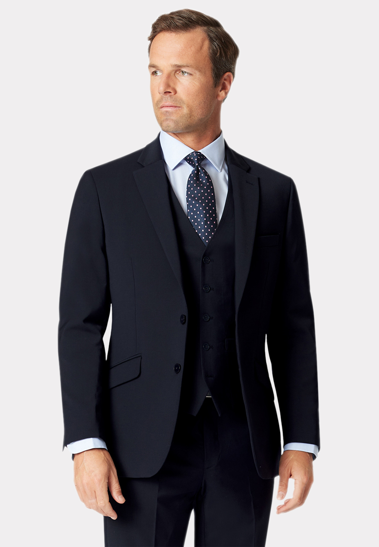 Avalino Navy Three Piece Travel Suit - Waistcoat Optional