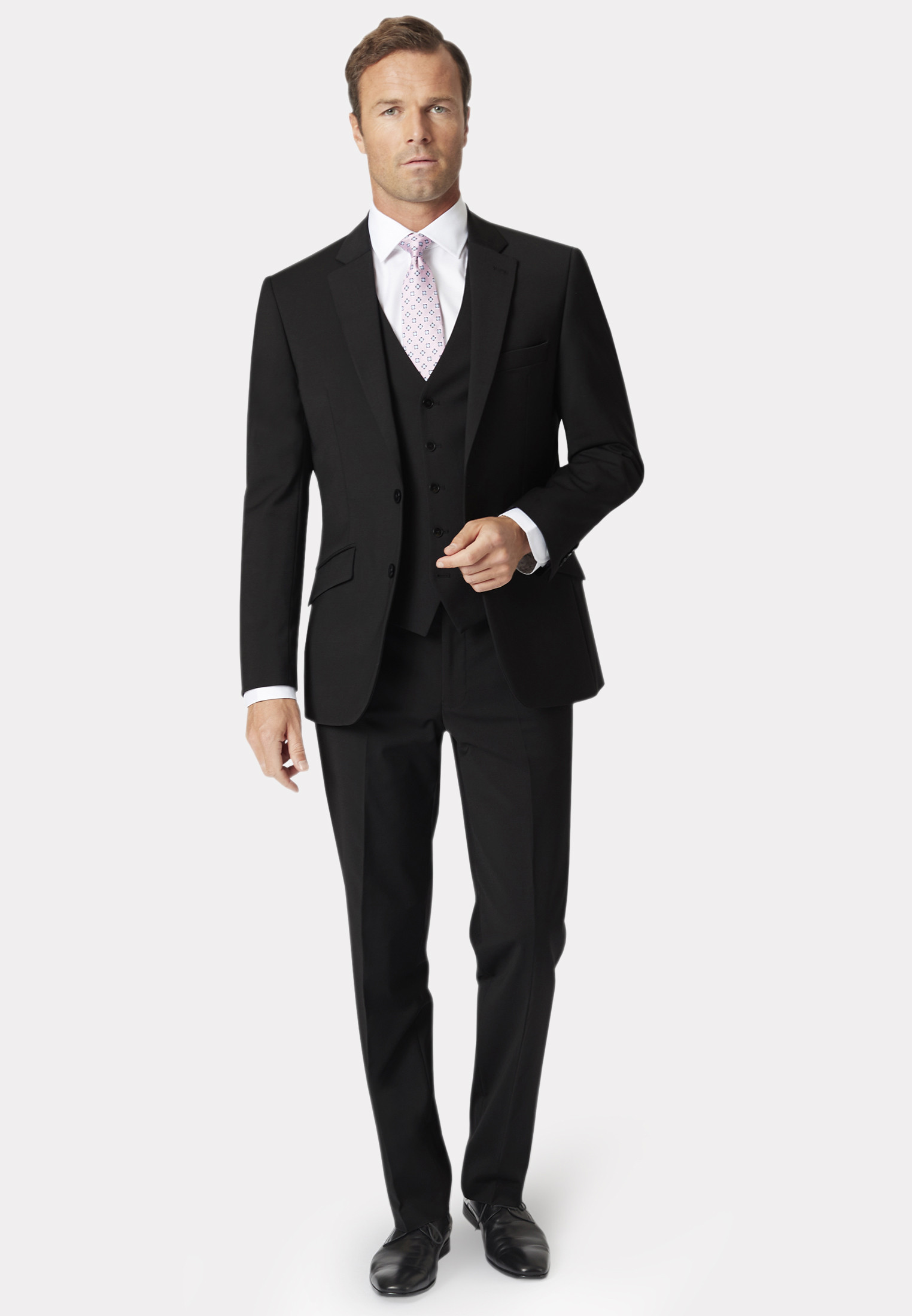 Avalino Black Three Piece Travel Suit - Waistcoat Optional