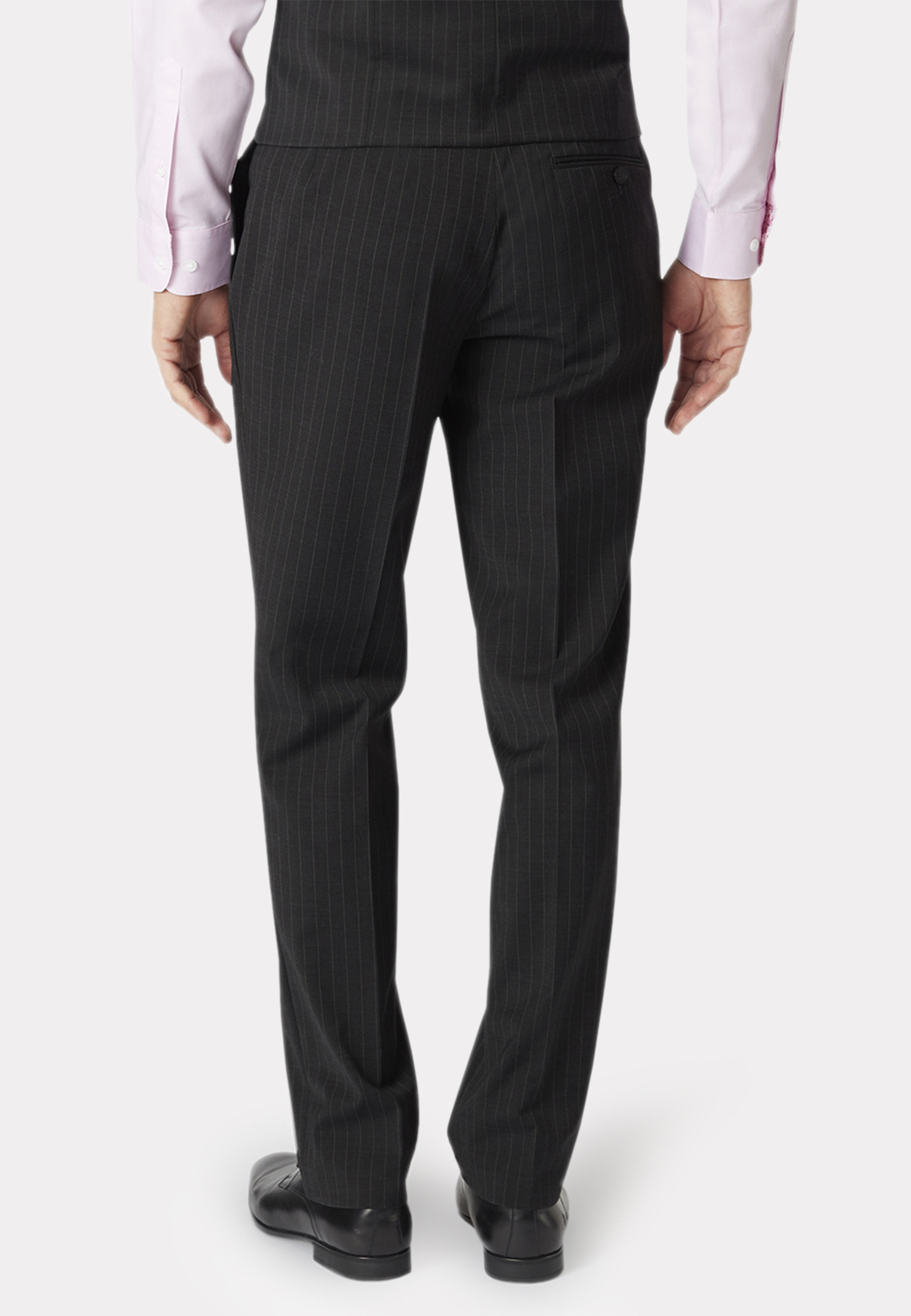 Avalino Charcoal Pinstripe Three Piece Travel Suit - Waistcoat Optional
