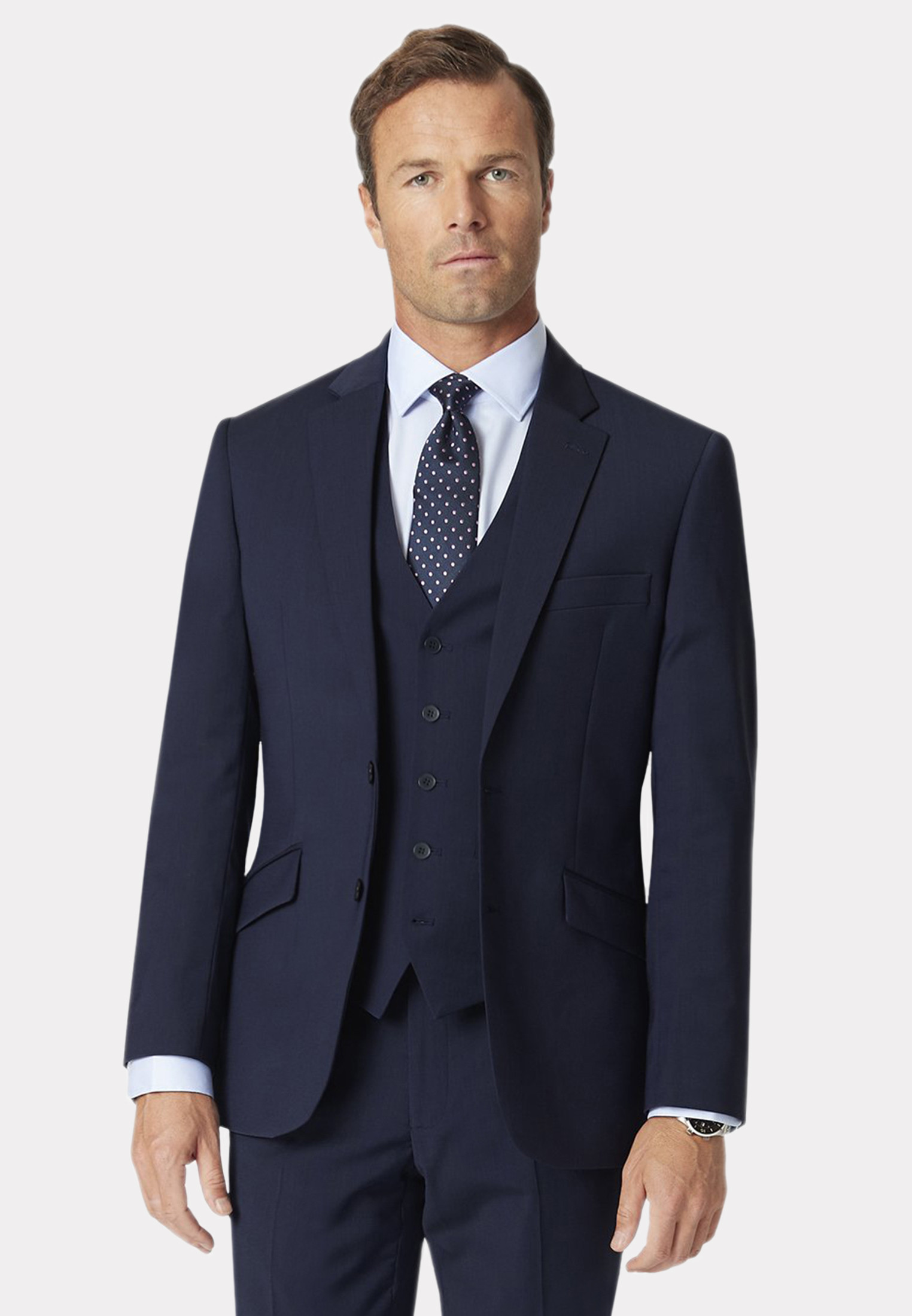 Avalino Mid Blue Three Piece Travel Suit - Waistcoat Optional