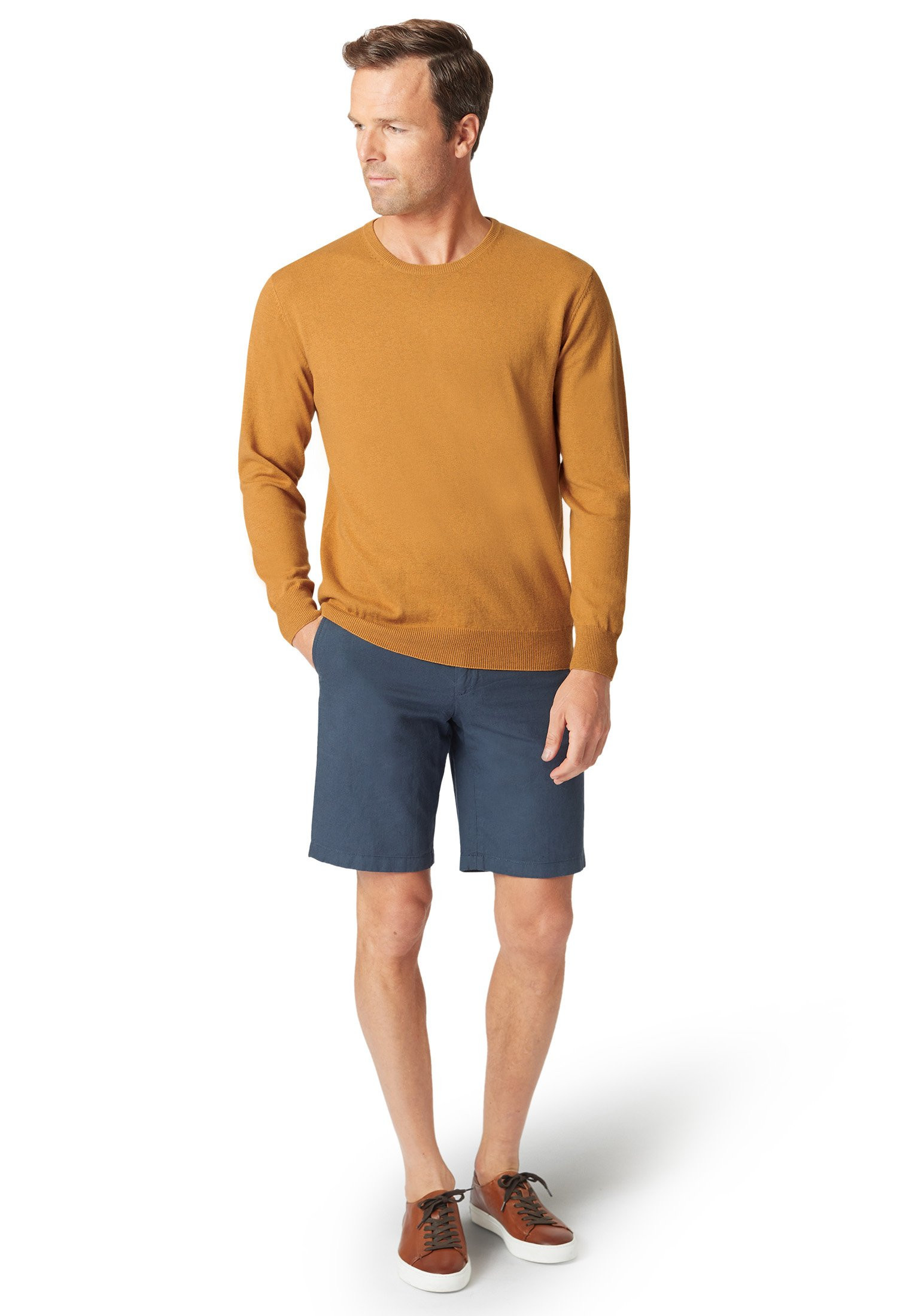 Aylsham Mustard Luxury Cotton Merino Crew Neck Sweater