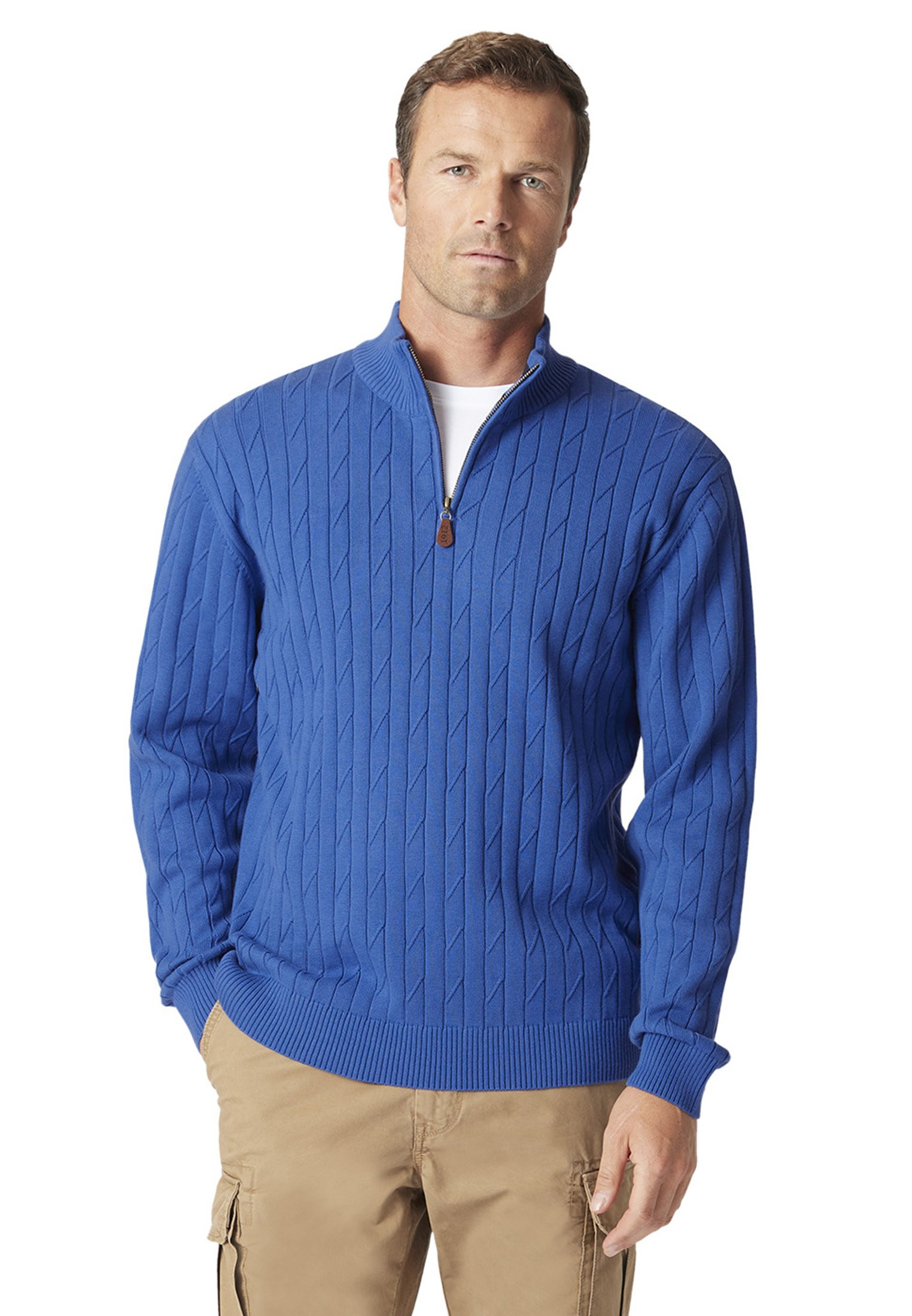 Byford Electric Blue Cable Knit Zip Neck Jumper