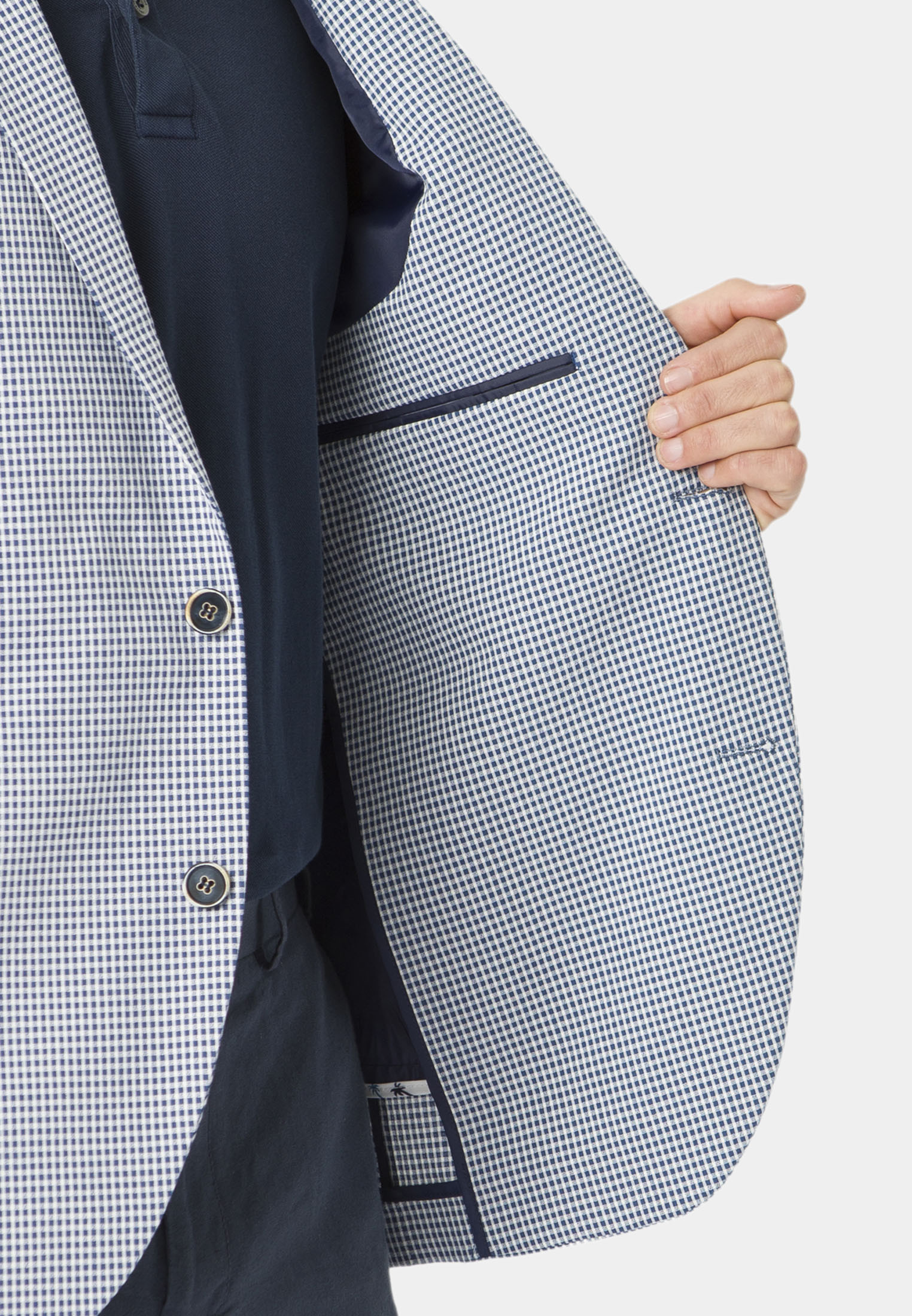 Carroll Blue Neat Check Seersucker Jacket
