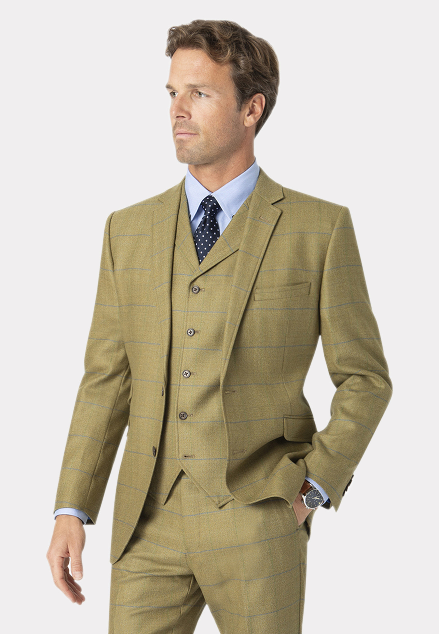 Fountains Sage Check Pure New Wool Suit Jacket
