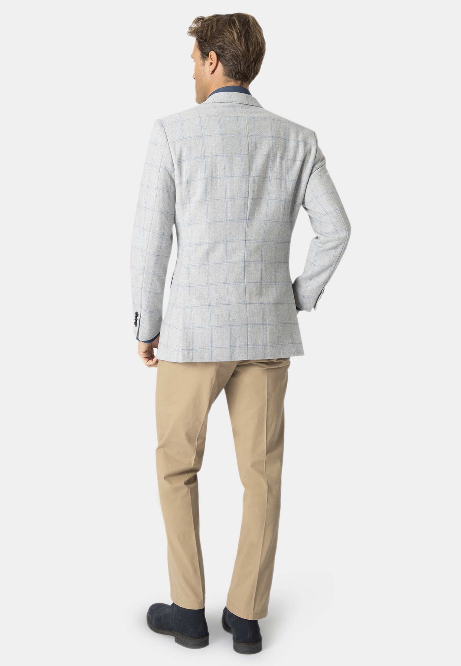 Packwood Grey With Blue Overcheck Jacket