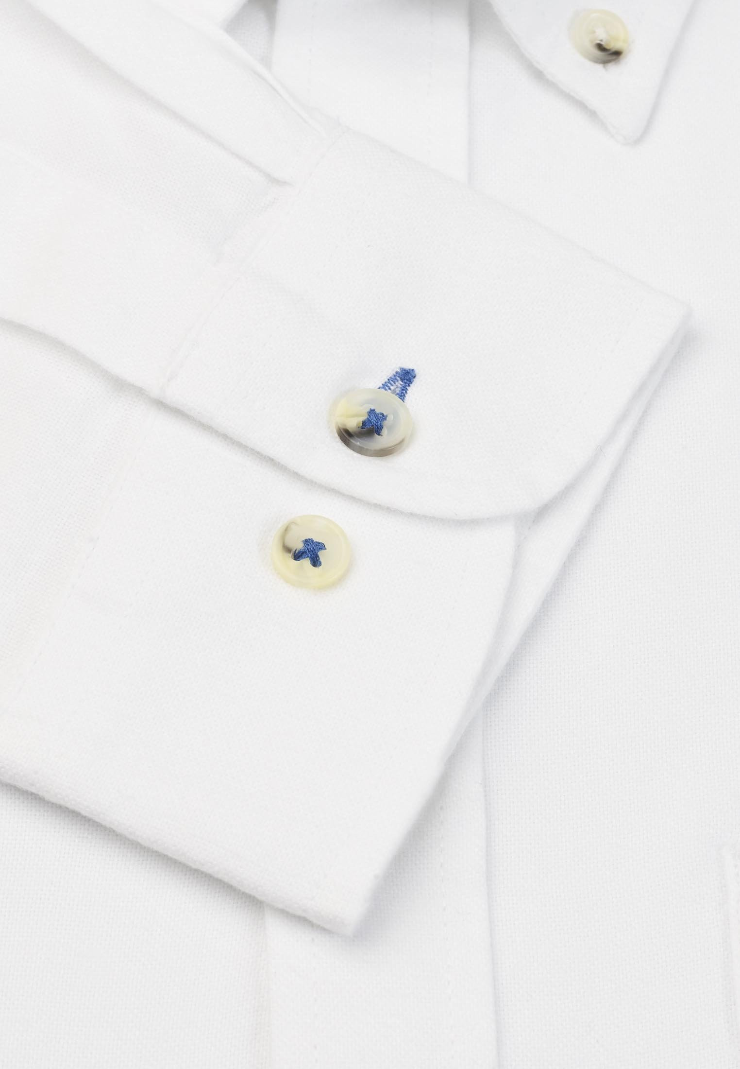 Long Sleeve White Soft Touch Oxford Button Down Collar Shirt