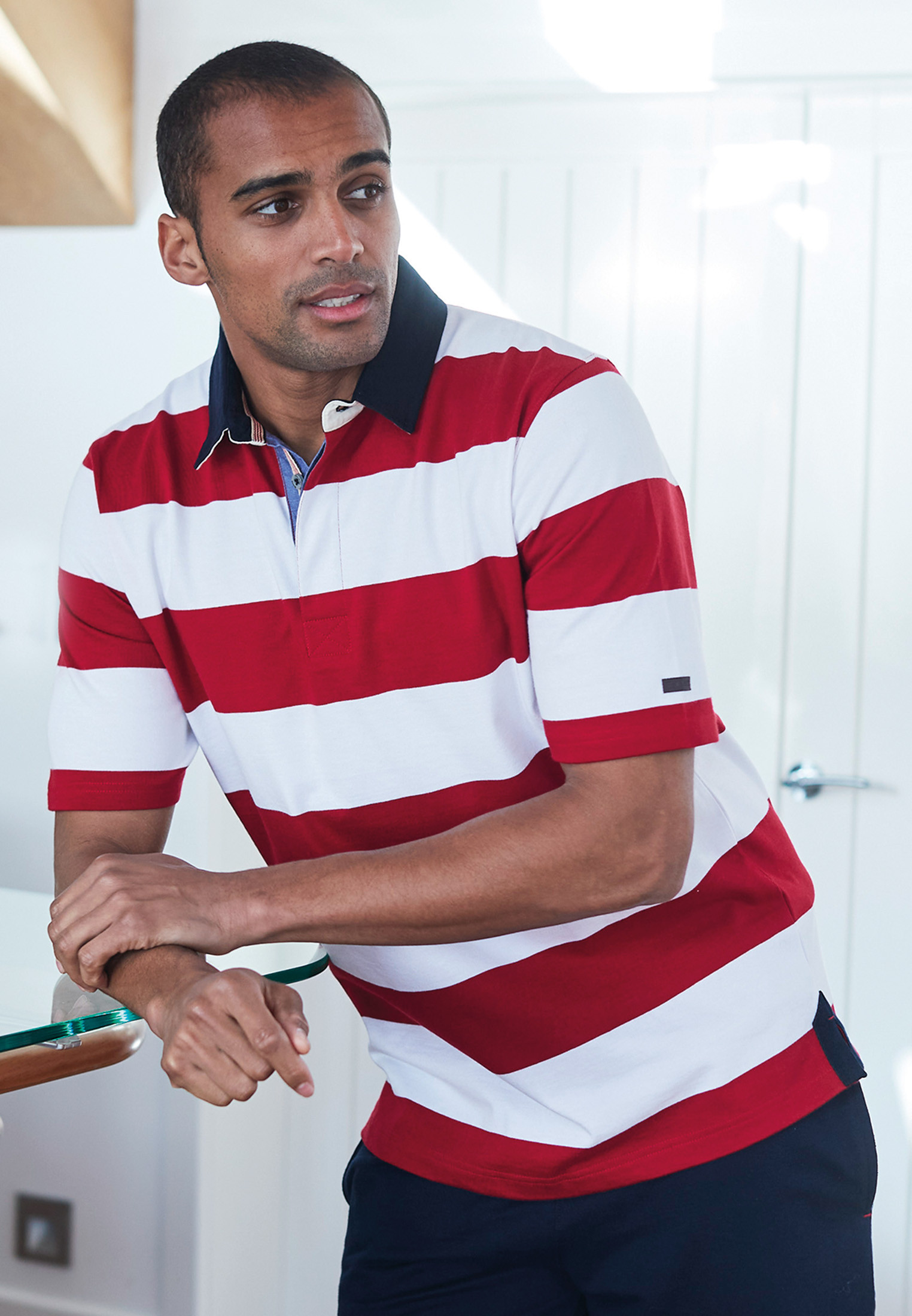 Sale Short Sleeve Red and White Stripe Cotton Jersey Rugby Shirt
