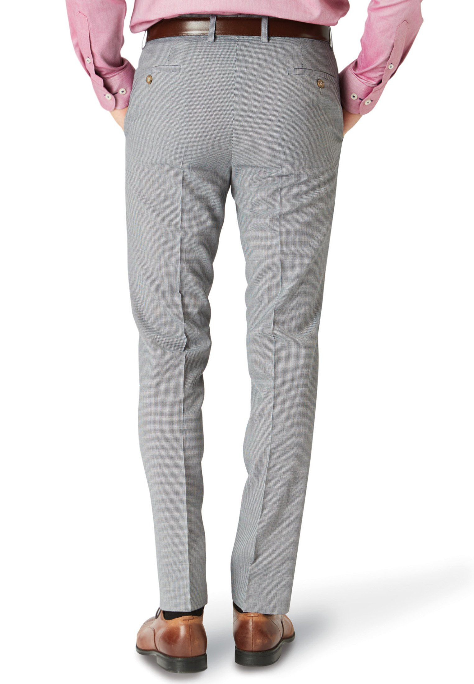 Grey Watson Wool-Rich Puppytooth Trouser