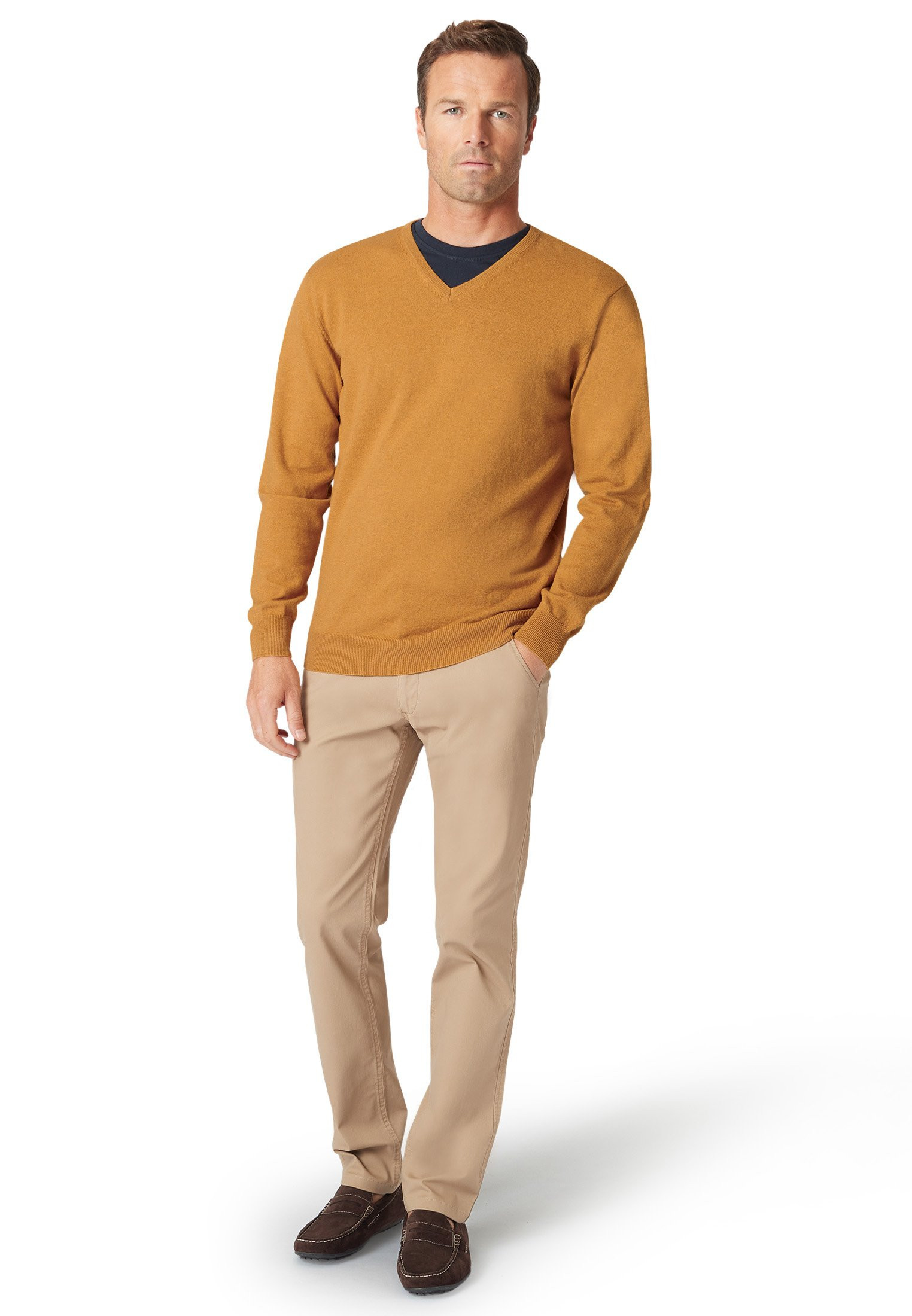 Watton Mustard Luxury Cotton Merino V-Neck Sweater